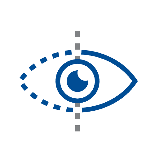 Blurry vision in eye icon