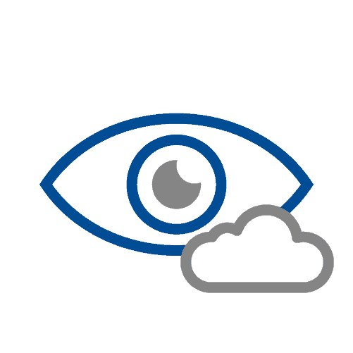 Cloudy vision in eyes icon