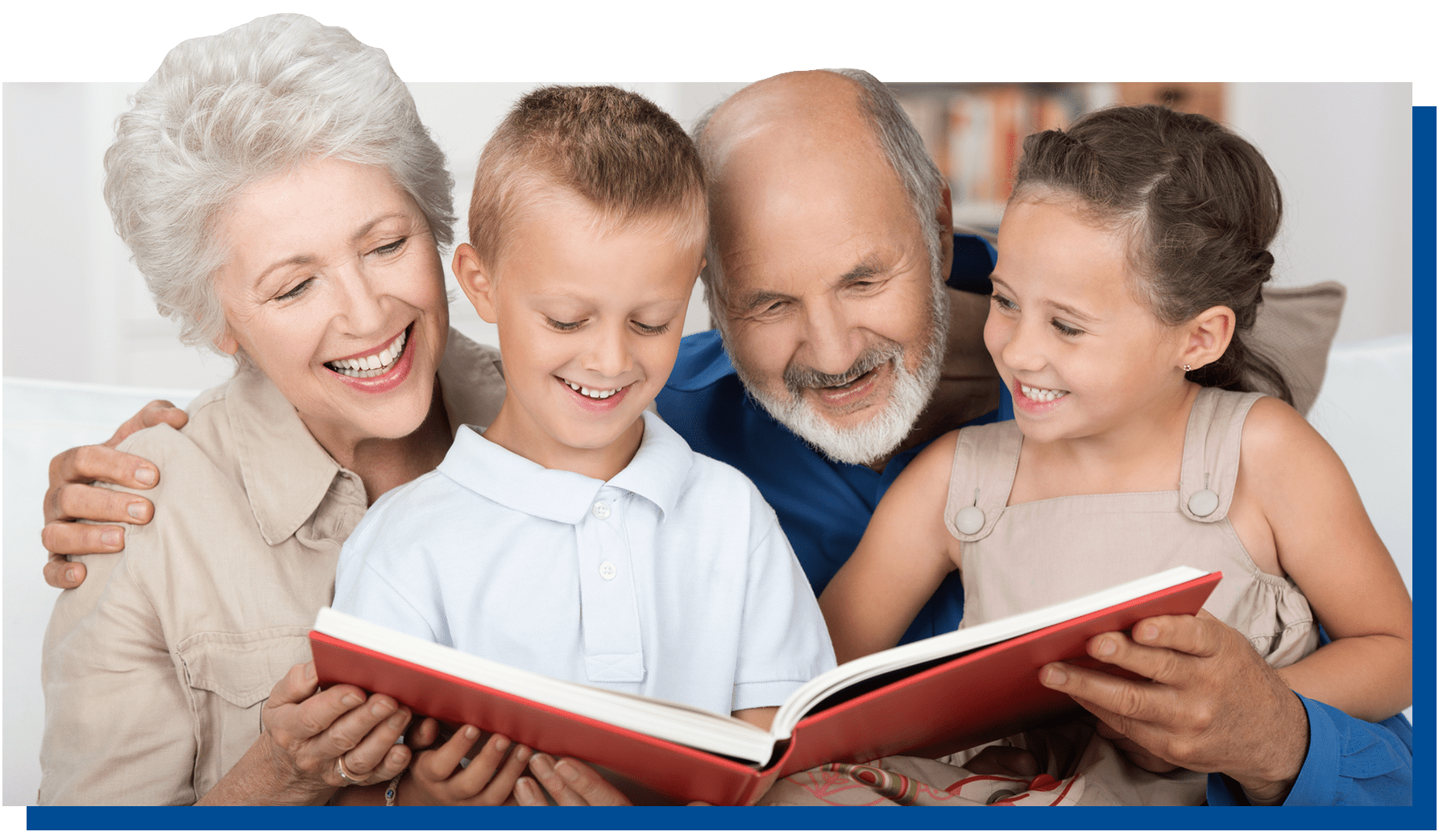 Grandparents reading with kids