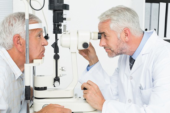 Opthalmologist checking for glaucoma
