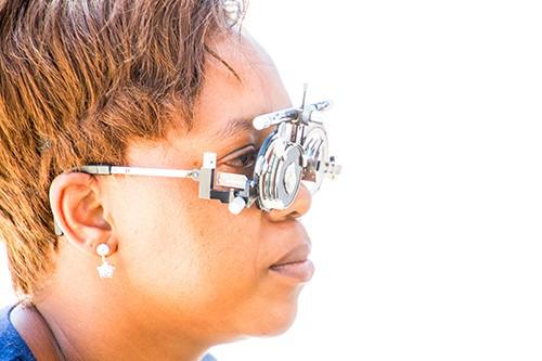 woman having eyes checked